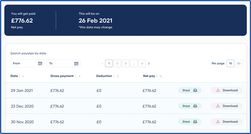 A screenshot of downloadable payslips and P60s