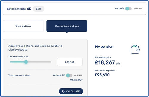 A screenshot of our handy calculator